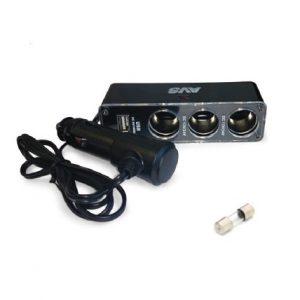Разветвитель прикуривателя 12/24V (на 3 выхода + USB) AVS CS313U